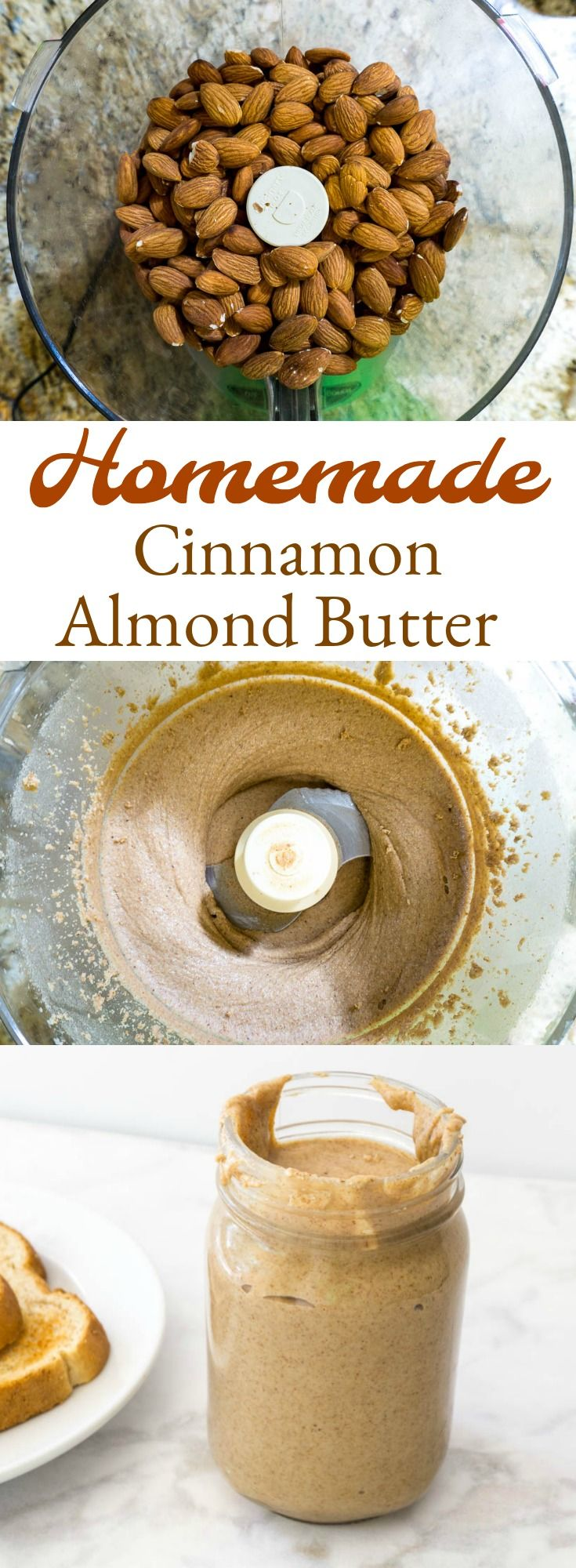 Homemade Cinnamon Almond Butter is incredibly easy and makes a full jar that'll lat you a month. Put it in smoothies or on toast with honey.