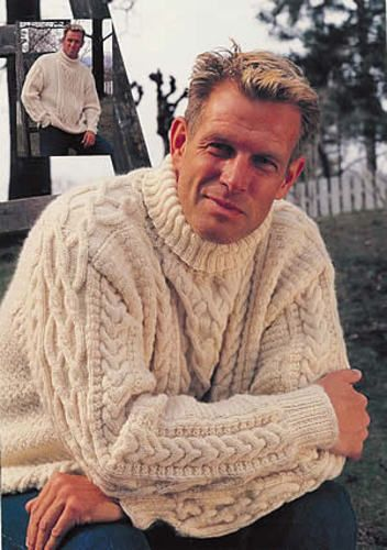 Be nice knit this masterpiece for him! Sweater in Karisma Classic (size S -XL) - pattern by DROPS design