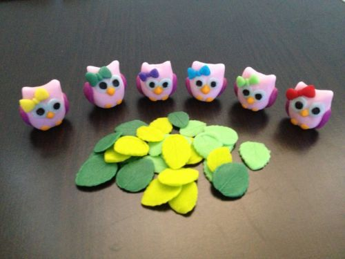 3D-Mini-Owls-and-veined-leaves-edible-cake-cupcake-decoration-toppers-hoot-hoot