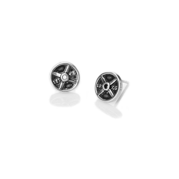 Mini Weight Plate Earrings (sterling silver studs) – Fashletics® $30.00. I NEED THESE NOW!!!!