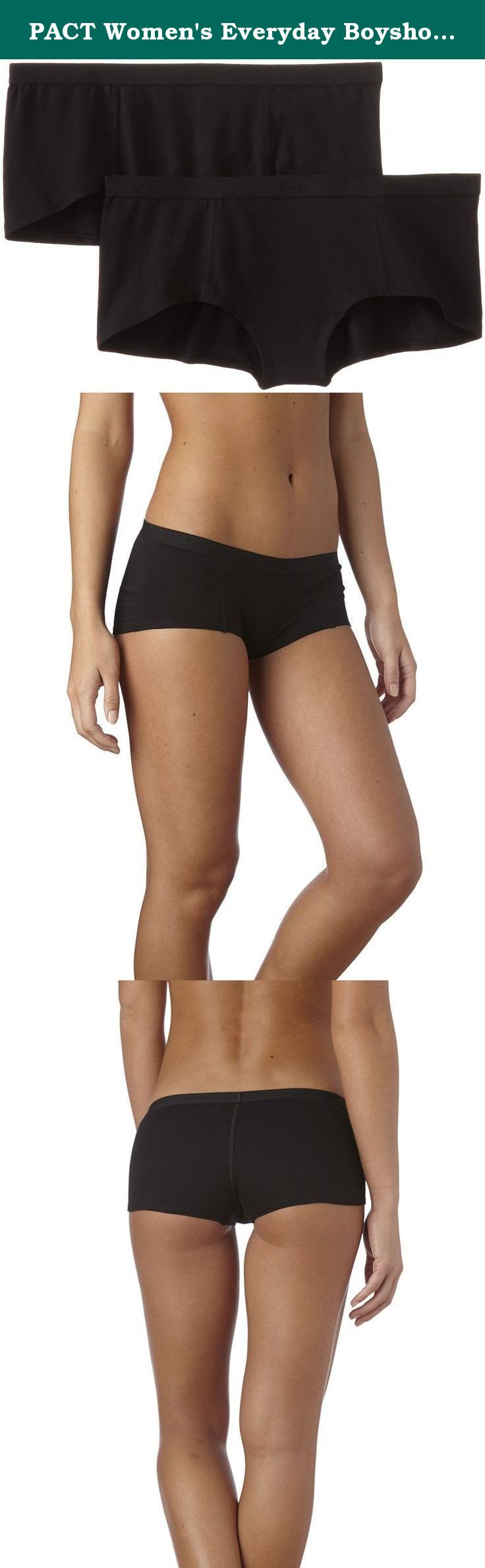 PACT Women's Everyday Boyshort 2-Pack, Black, X-Large. PACT is obsessed with a big idea: clothes that make the world a better place. Socks with soul, altruistic underwear, and other everyday essentials made with fabrics that feel good and go easy on the environment. The best part: with every purchase, you help PACT make a positive change in our world. For spring/summer 2014, PACT is going all the way back to the source - our farmers. In India, PACT organic cotton is produced by Chetna...