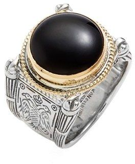 Men's Konstantino 'Minos' Etched Black Onyx Ring