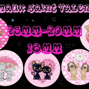 "60 images digitales - cabochon - bijoux - scrapbooking - collage ""animaux saint valentin 2""  25mm-20mm-18mm + 1 planche gratuite"