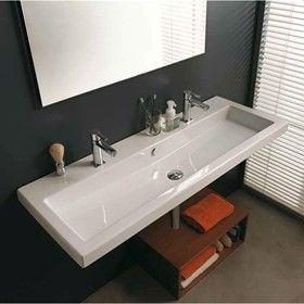Bathroom Trough Sink Double Faucet My