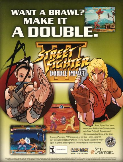 Sega Dreamcast - Street Fighter III Double Impact Ad iwantgamecheats.com