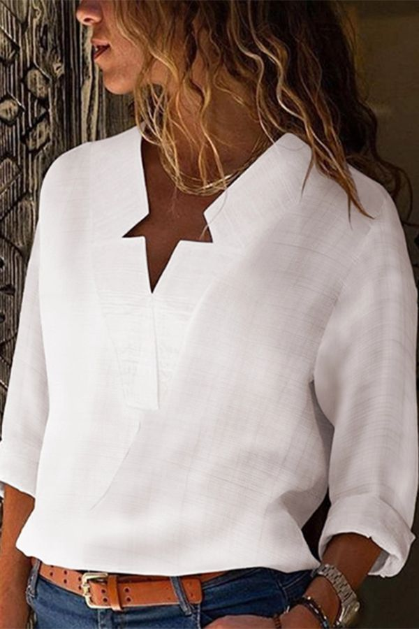 Sexy V Neck Pure Color Blouses 3