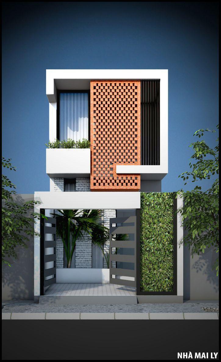 Fachadas casas estreitas, modelos.