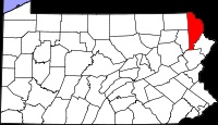 Location of Wayne County in Pennsylvania