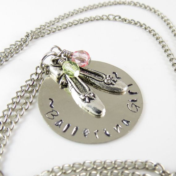 Ballerina Girl Hand Stamped Pendant and Necklace by LeCotillon