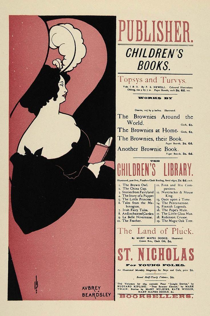 5s poster design - 1924 Lithograph Aubrey Beardsley Mini Poster Art Nouveau Childrens Books Reading
