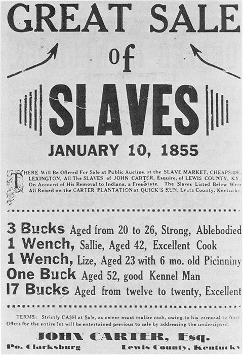 Announcement for an 1855 slave auction in Kentucky.