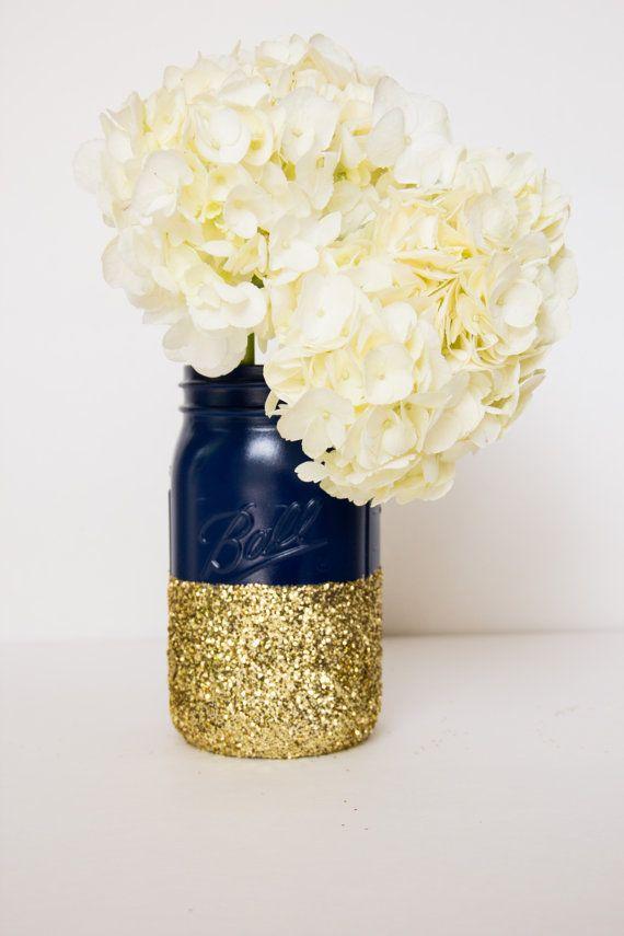 Navy and Gold Glitter QUART Mason Jar by CharminglyKristin