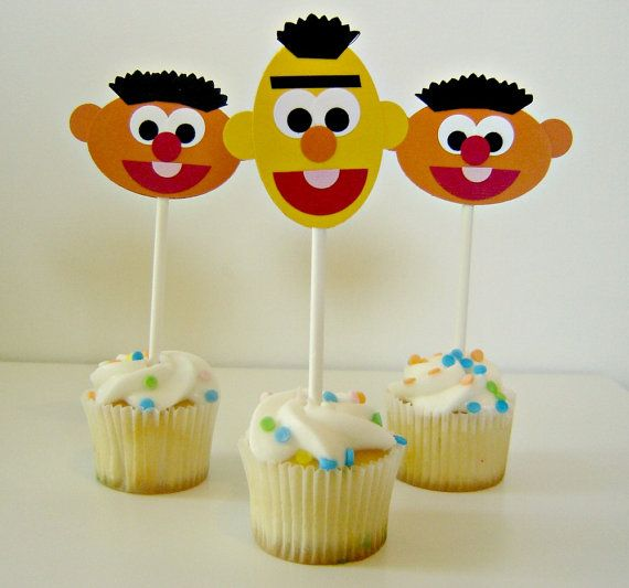 These adorable Bert & Ernie cupcake toppers would make the perfect addition to any childs birthday party!! This listing price is per cupcake