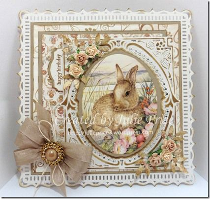 Handmade card by DT member Julie with Creatables Petra's Birds (LR0351) by Marianne Design