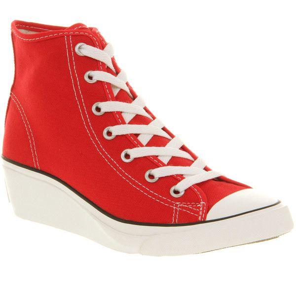 Red wedge sneakers, Converse
