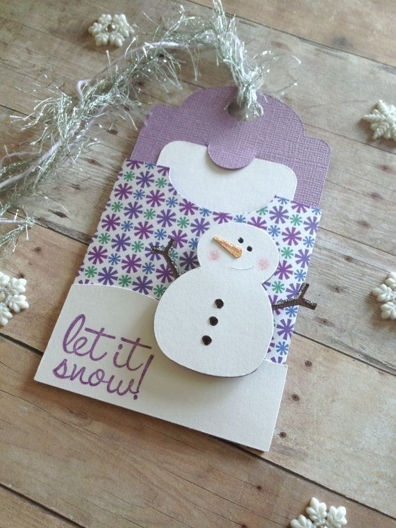 Christmas Gift Tag, Christmas Gift Card Holder, Snowman Card,Blue christmas,Let it Snow gift tag,Snowflake tag,snowman gift tag,holiday tag by sharon.smi