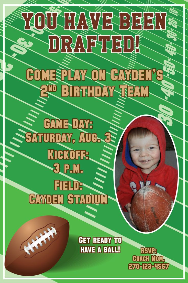 items similar to football birthday party invitations with photo or digital file or on etsy