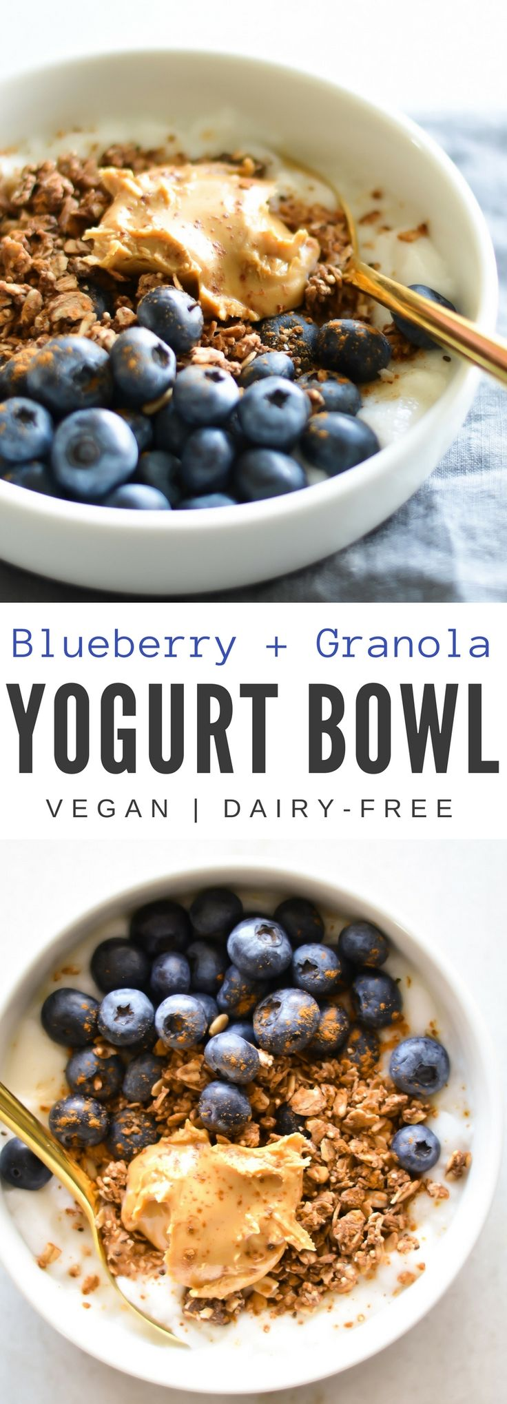 This granola and yogurt bowl is topped with fresh blueberries and almond butter. You can easily customize this quick snack or breakfast. Swap out the fruit or add additional toppings. And it only takes a few minutes to make and can easily be prepped the night before.
