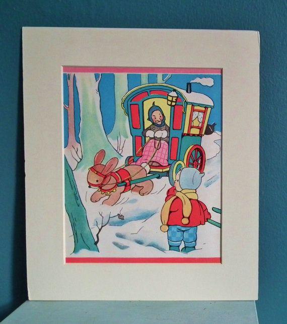 Mabel Lucie Attwell - original vintage print 1970s 70s - gypsy caravan snow scene rabbit child - nursery art children's picture for framing