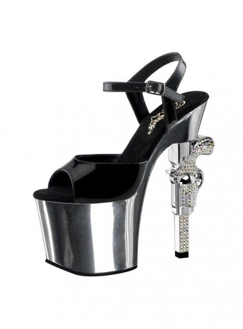 PLEASER - SANDALES PLATEFORME CHROME ET TALON REVOLVER | FOXY LADY  #mode #tendance #people #fashion #pleaser #sexy #chaussure #sandale #gogo #poledance #ladyboy #transgenre