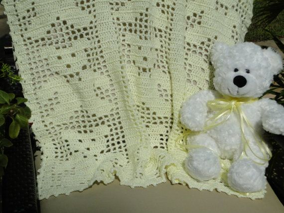 Pretty Yellow Filet Crochet Teddy Bear Baby Afghan Ready