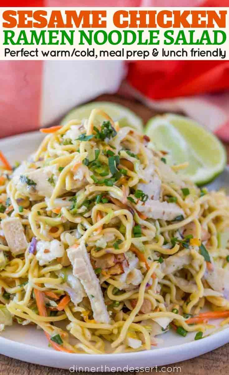 Ramen Noodle Salad - Ramen Noodle Salad With Chicken, Green Onions, Carrots, Toasted Almonds, In A Quick, Easy Vinaigrette Is A Healthy, Easy, Lunch Option You Can Eat Cold Or You Can Enjoy Warm.