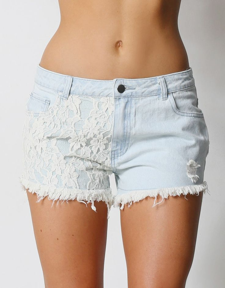 DENIM SHORTS WITH LACE PANEL - DENIM SHORTS WITH LACE PANEL DETAIL AND RAW EDGE - Denim Shorts