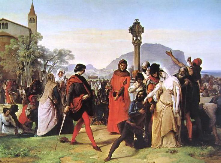 Francesco Hayez; I vespri siciliani; 1846; olio su tela; Galleria nazionale d'arte moderna, Roma.