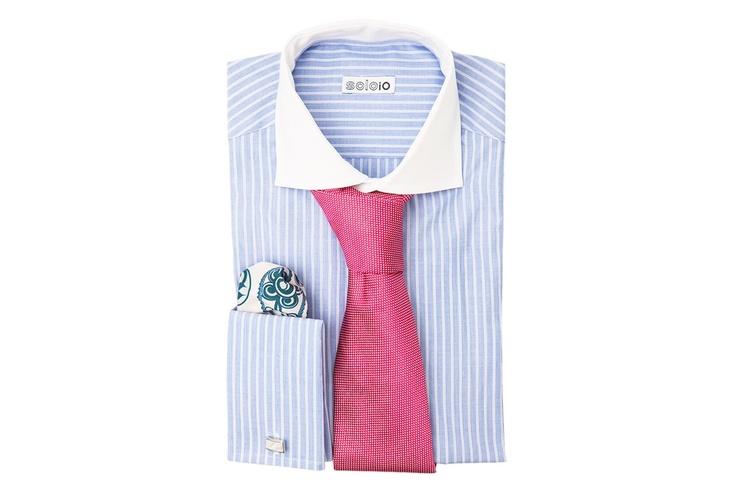 pink silk tie, pocket square, shirt by SOLOiO #groom #wedding #fashion #menswear #style @soloiomoda www.soloio.com