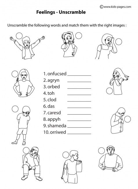Feelings Unscramble B&W worksheets | MENTAL HEALTH ITEMS ...