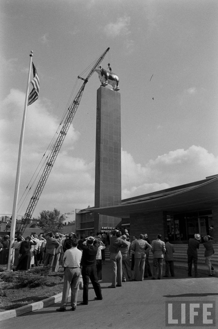 On October 25,1954 Life magazine wrote about the installation of the Hereford Sculpture in Kansas City. A trailer truck rode through Kansas City, Mo. last week bearing a bull destined to achievegreat heights. The bull, a Hereford from New Jersey, stands 12 feet high, weighs 5,550 pounds and has plastic flesh atop steel bones. It was designed to stand atop a 90-foot pylon in front of American Hereford Association headquarters near the stockyards. First the association mock-solemnly debated…