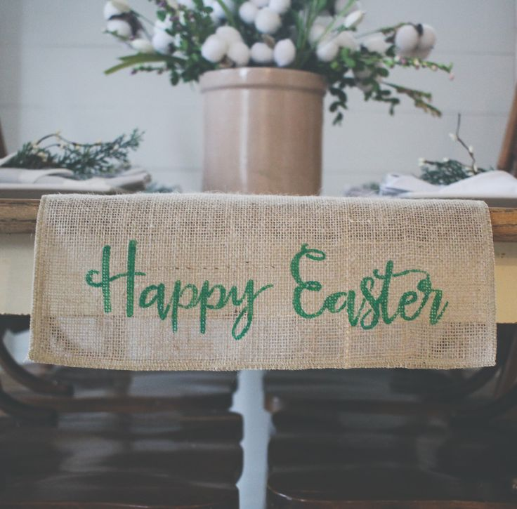 A personal favorite from my Etsy shop https://www.etsy.com/listing/512636623/happy-easter-burlap-table-runner-table