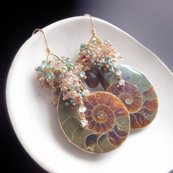 Custom Made to Order Ammonite Fossil Earrings by BijouxOdalisque
