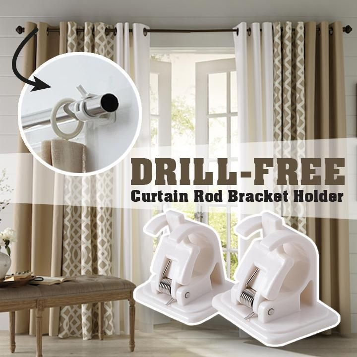 Drill Free Curtain Rod Bracket Holder Gravitymagic Com In 2020