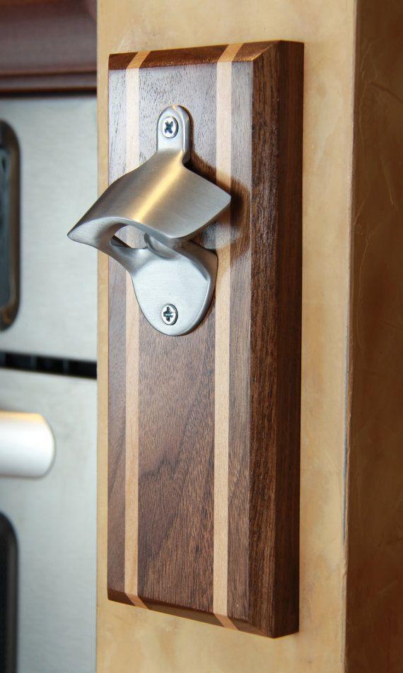 Botella abridor tapón magnético Catcher artesanal por WoodEffex