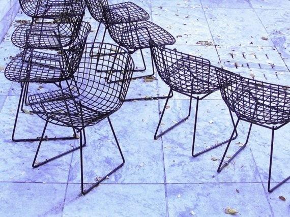 Bertoia Chairs, New York City, Mid-Century Modern, MoMA, Blue, Black, Photograph, Framed
