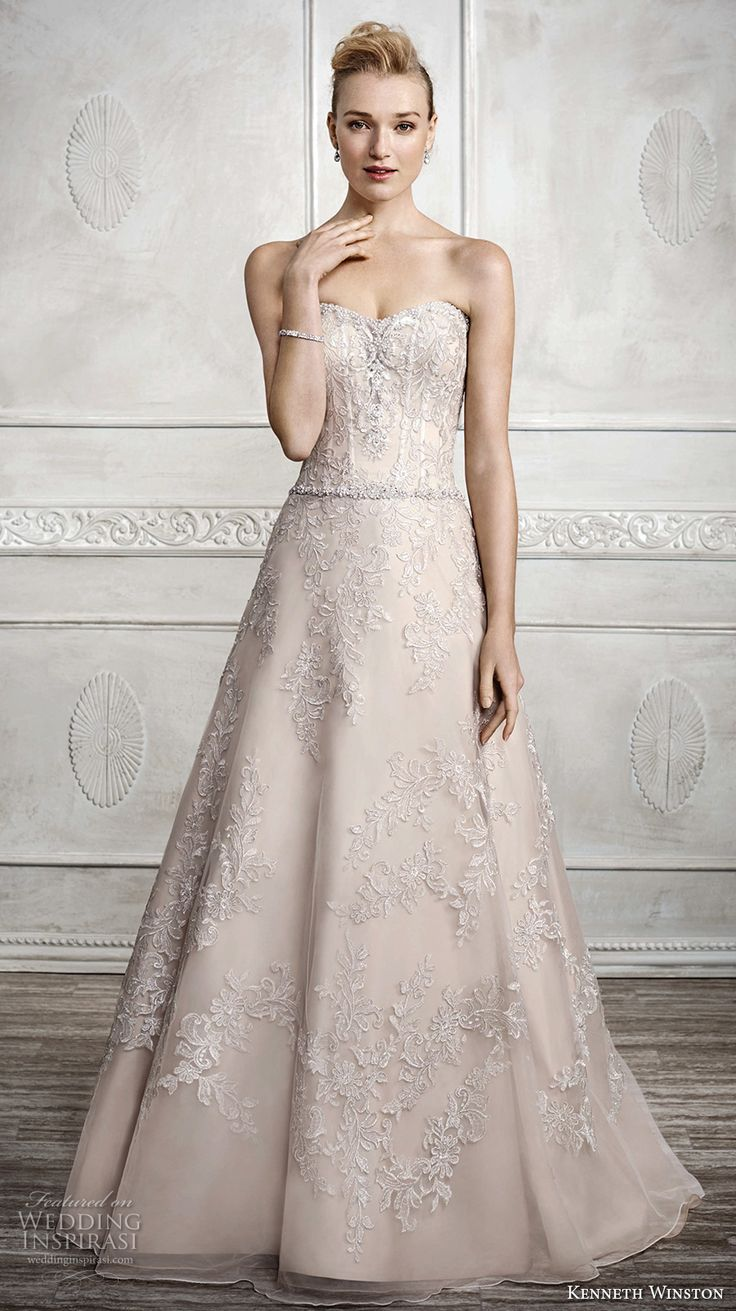 KENNETH WINSTON fall 2016 bridal strapless sweethheart neckline full embellishment beautiful champagne color elegant a line wedding dress chapel train (1672) mv #bridal #wedding #weddingdress #weddinggown #bridalgown #dreamgown #dreamdress #engaged #inspiration #bridalinspiration #weddinginspiration #weddingdresses #strapless