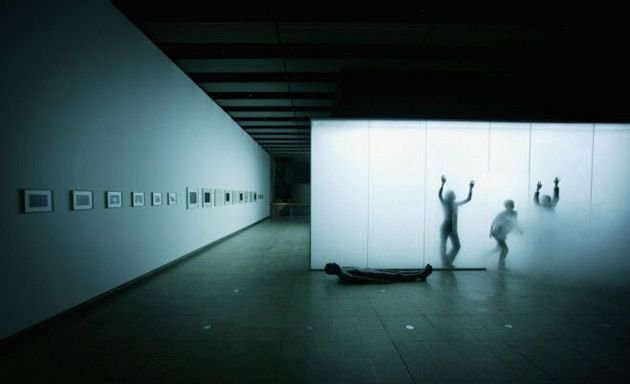 Antony Gormley's Blind Light installation. Oscillating ultrasonic humidifiers create a dense vapour reducing the visibility inside the eight by 10 metre glass enclosure.