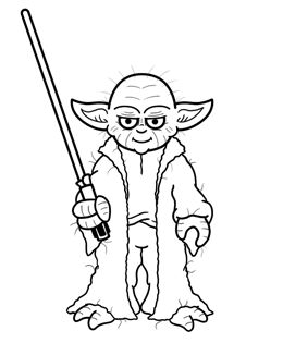 Learn how to draw Yoda from Star Wars, the most powerful of all the Jedi - first appearing in Episode V:Empire Strikes Back, in this simple cartoon drawing lesson.