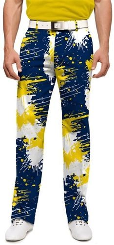 Mens Blue & Gold Paint Balls Golfing Pants by Loudmouth Golf.  Buy it @ ReadyGolf.com