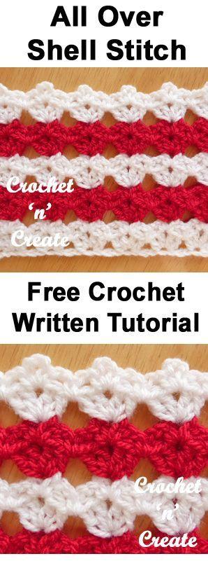 All over shell stitch, free written tutorial from crochet 'n' create. #crochet