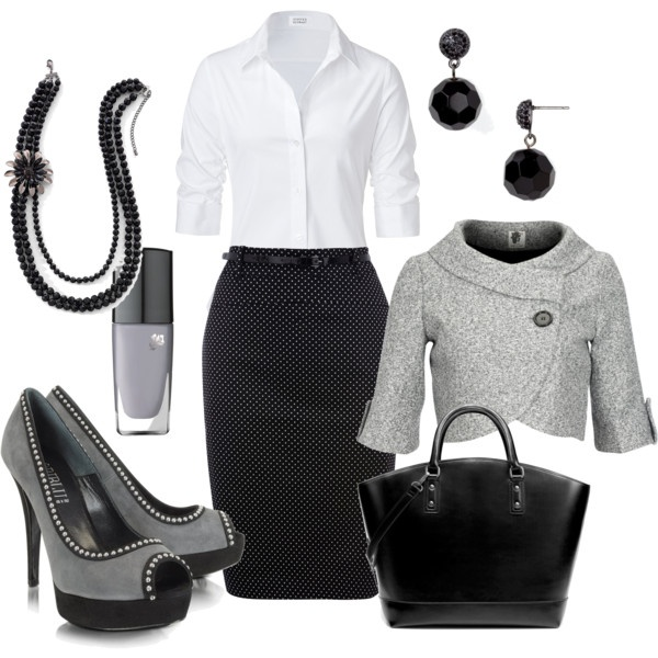 Shadows, created by cynthia335Work Clothing, Fashion, Style, Black White, The Offices, Pencil Skirts, Blackwhite, Work Outfit, Work Attire