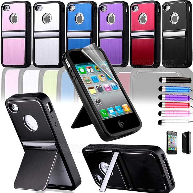 Aluminium TPU Hard Case Cover Chrome Stand for iPhone 4 4G ...