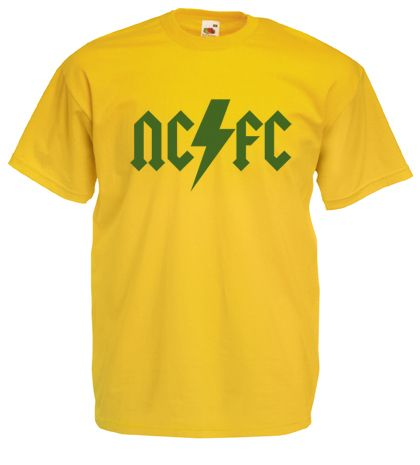 £9.99 - #AC/DC Style Mens #Football #T-Shirt M/L/XL/2XL/3XL/4XL/5XL #Norwich City #Canaries - Worldwide Delivery