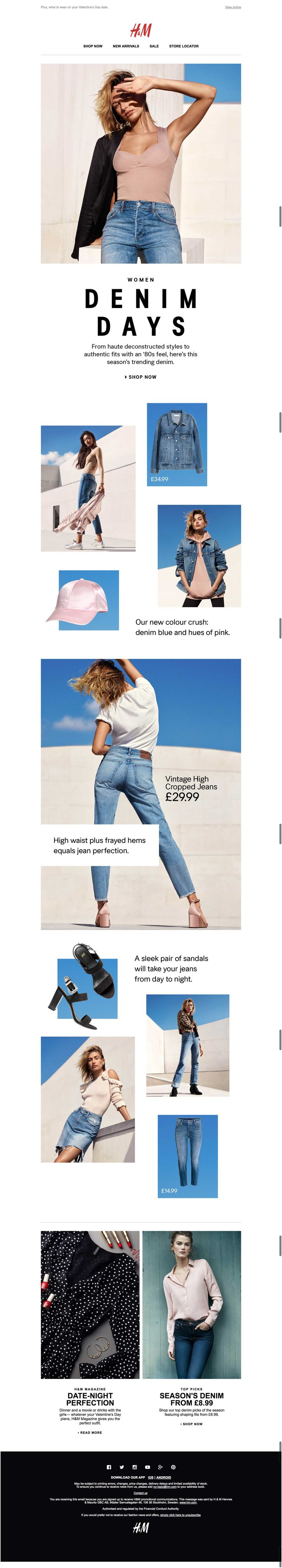 denim days email from h and m