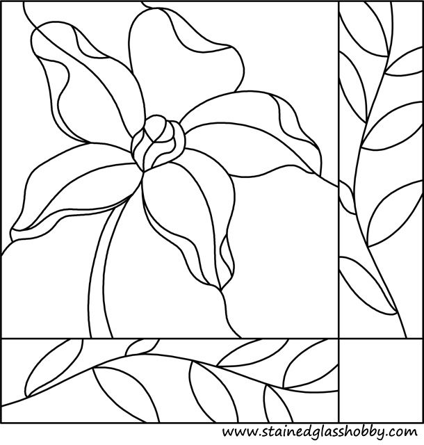 flower square panel leaded stained glass pattern