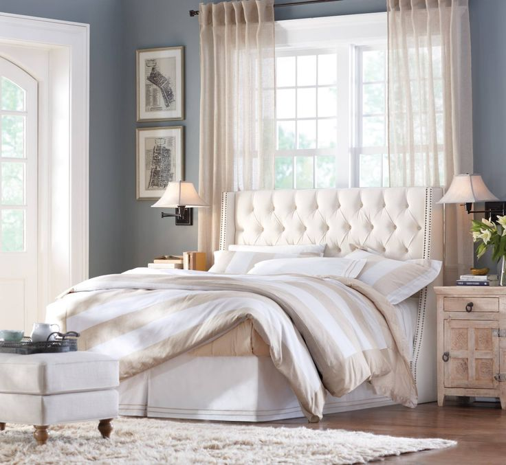 love this blue grey wall color guest room pinterest