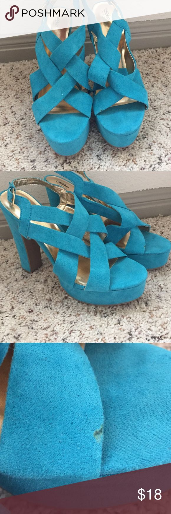 Blue Suede Pumps Small blemish on left shoe but in otherwise perfect condition. Worn once Mossimo Supply Co Shoes Heels