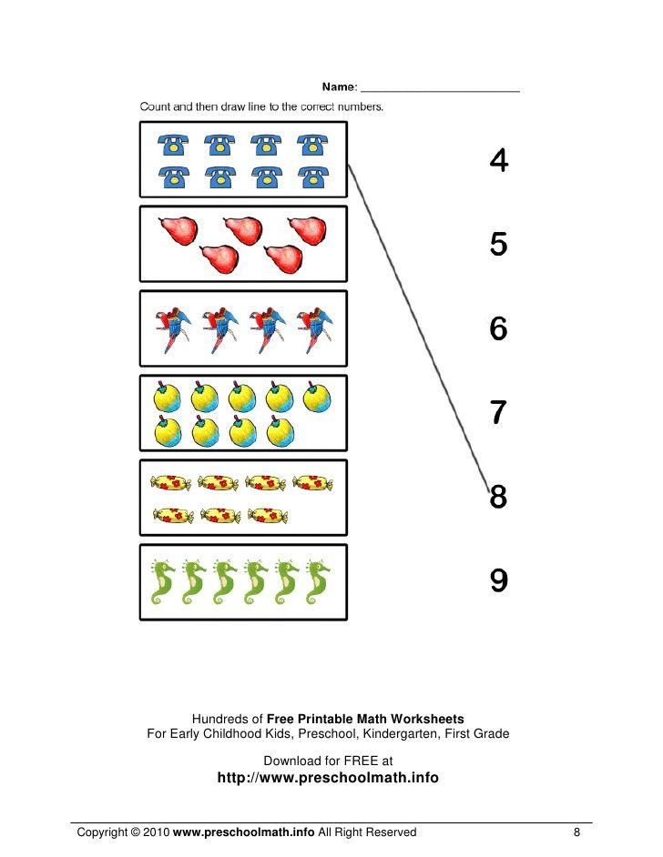 Hundreds of Free Printable Math Worksheets            For Early Childhood Kids, Preschool, Kindergarten, First Grade      ...