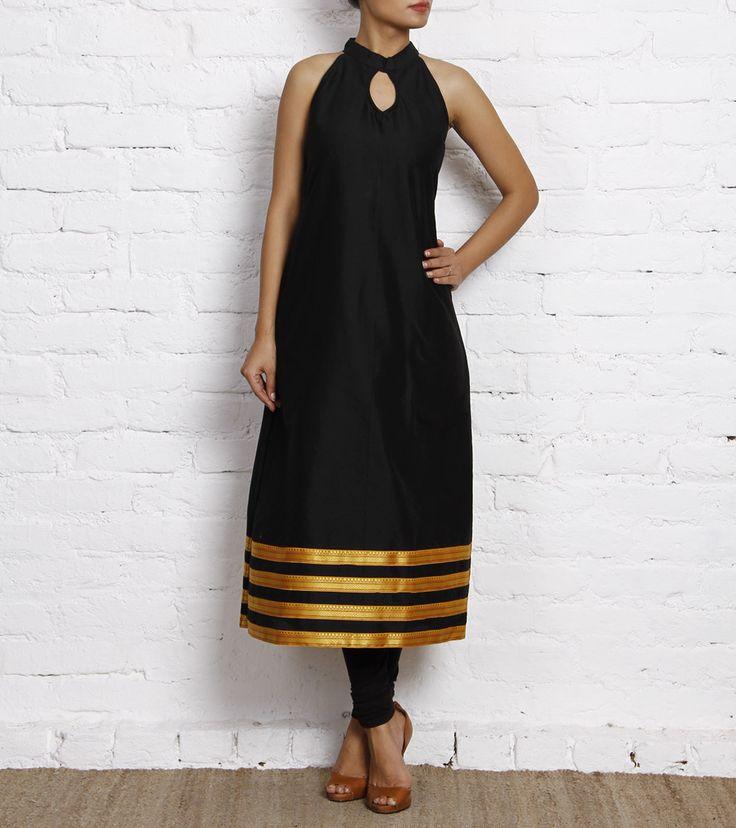 Black Cotton Silk Kurti
